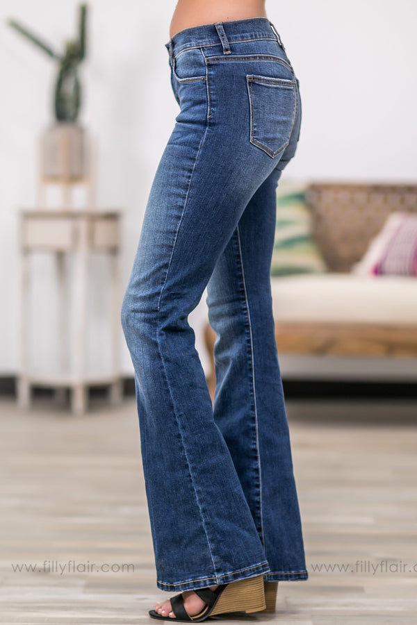 Sophia Sneak Peek Medium Wash Flare Jeans - Filly Flair
