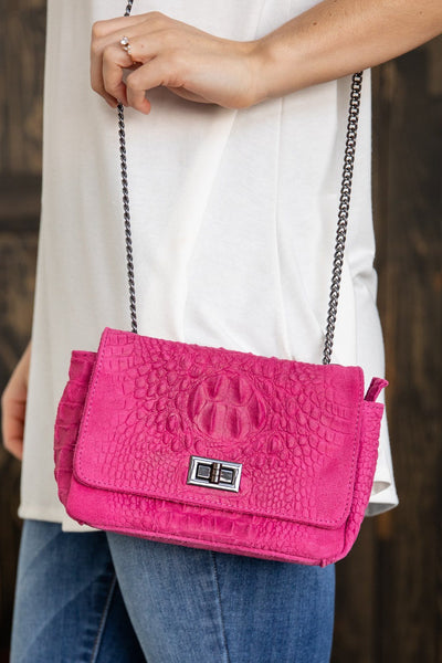 This Is It Italian Leather Chain Strap Purse in Hot Pink - Filly Flair