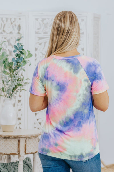 Call Me Tie Dye Round Neck Short Sleeve Top in Purple - Filly Flair