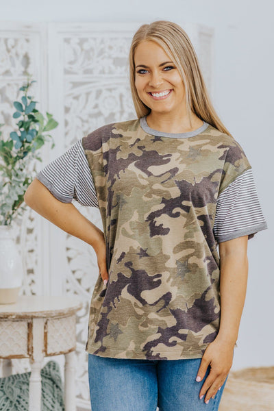 Beneath The Twilight Colorblock Top in Olive Camo - Filly Flair