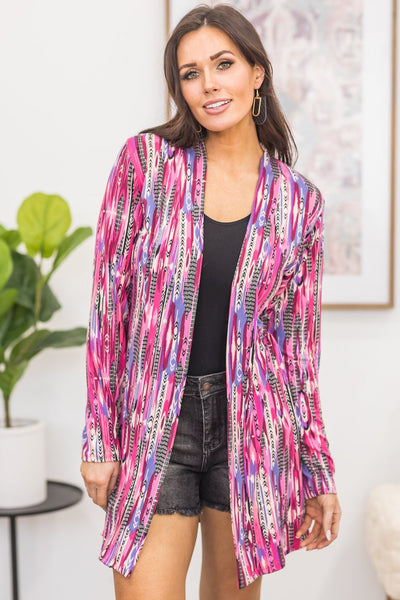 There's No Going Back Printed Detail Cardigan in Pink - Filly Flair