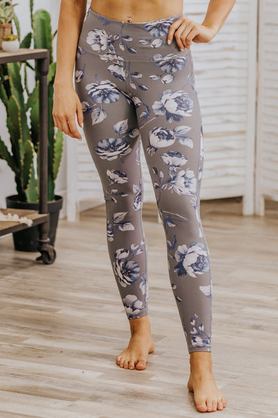 Exactly The Point Floral Printed Leggings in Grey - Filly Flair