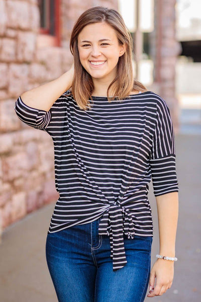 Small Town Roots Striped Front Tie Short Sleeve Top in Black - Filly Flair