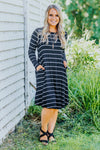 Open Heart, Open Mind Stripped Long Sleeved Dress In Black - Filly Flair