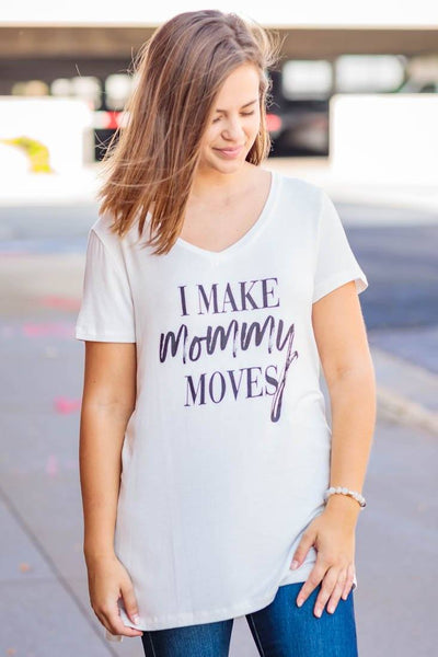 """I Make Mommy Moves"" High Low V Neck Tee Shirt in White - Filly Flair"