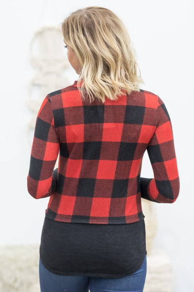 Beautiful Girl Buffalo Plaid Deer Head Print Long Sleeve Top in Red - Filly Flair
