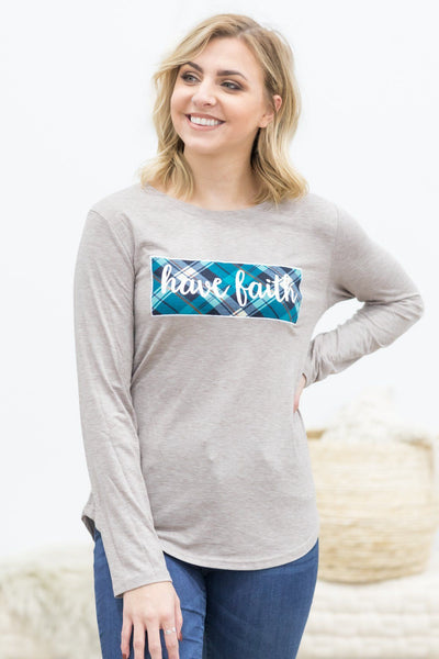 """Have Faith"" Long Sleeve Graphic Tee In Light Mocha - Filly Flair"
