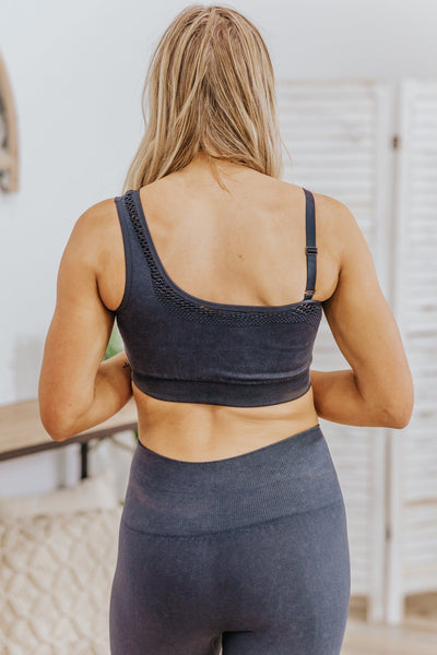 Difference Between Mineral Wash Seamless Sports Bra in Black - Filly Flair