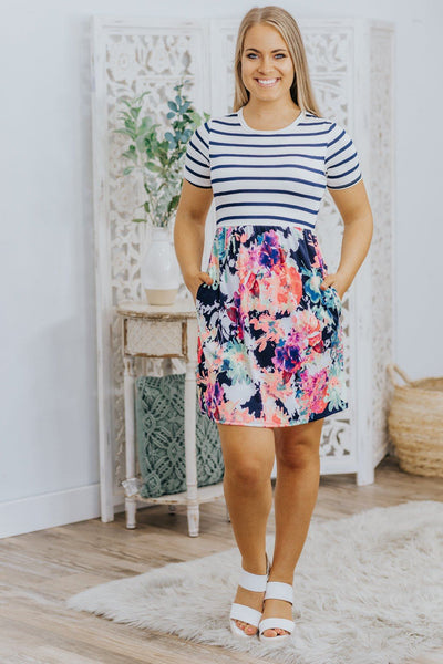 Smell The Roses Floral Print Short Sleeve Top in Navy - Filly Flair