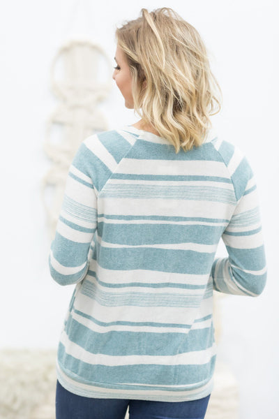Blowing In The Wind Striped Long Sleeve Top in Teal - Filly Flair