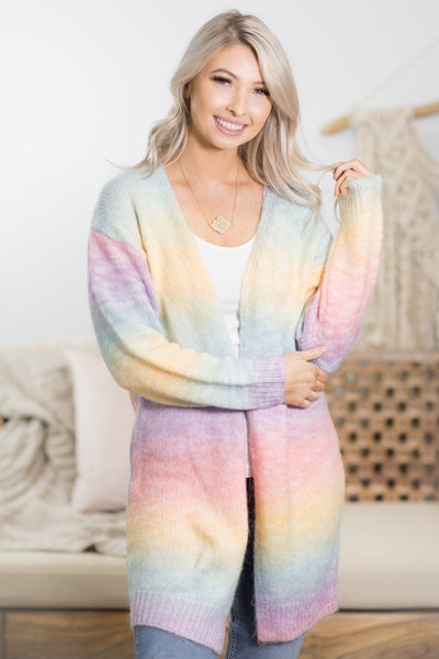 Never Hide Your True Colors Ombre Long Sleeve Cardigan in Yellow - Filly Flair