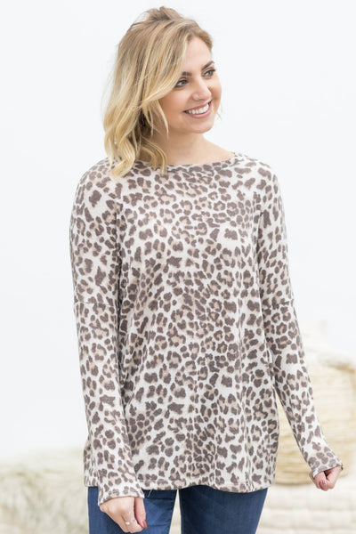 Success Breeds Success Animal Print Tunic In Ivory - Filly Flair