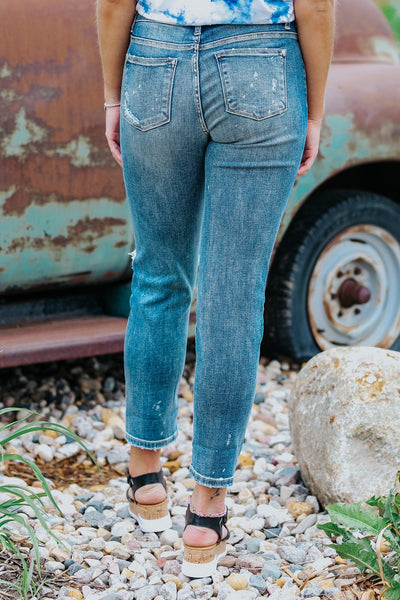 Joanna Judy Blue Mid Rise Distressed Dark Wash Jeans - Filly Flair