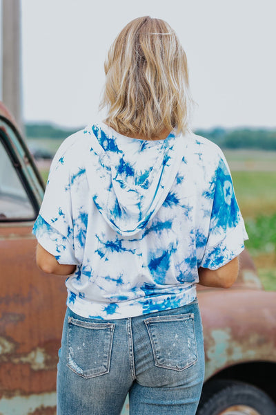 Nothing I Wouldn't Do Tie Dye Hoodie Short Sleeve Top in Blue - Filly Flair