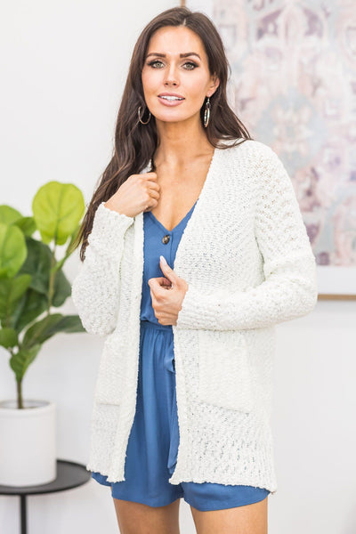 Clear To Me Popcorn Cardigan in Cream - Filly Flair