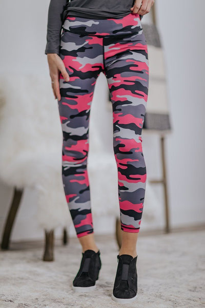 Say What You Feel Camo Skinny Leggings in Hot Pink - Filly Flair
