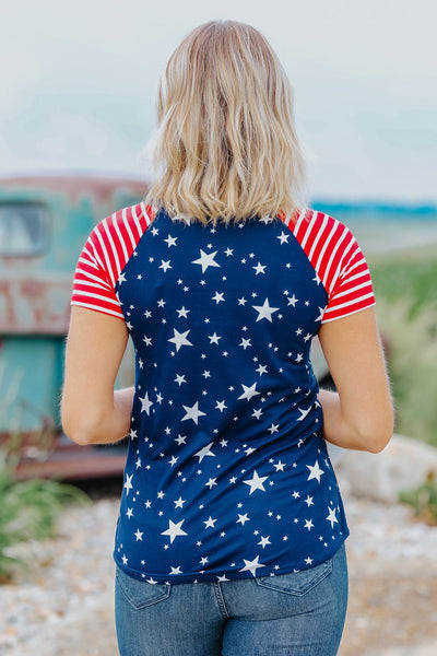 Is It The 4th Yet Short Sleeve Top In Navy Star - Filly Flair