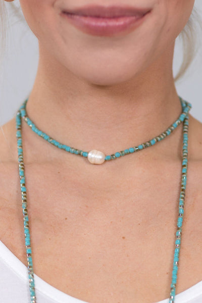 Wrap Fire Polished Mint Czech Crystal Beads Wrap Necklace - Filly Flair