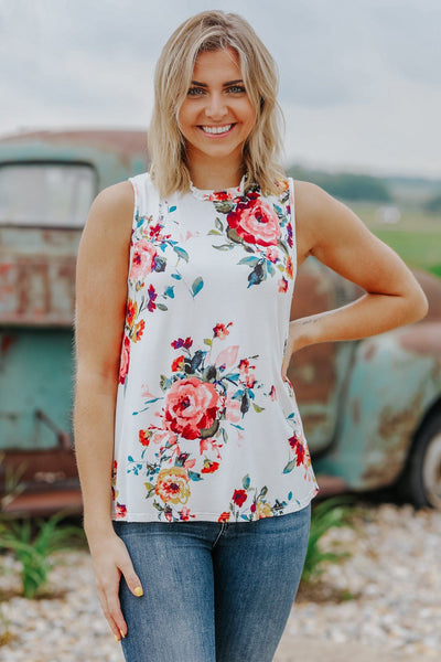 Feeling Pretty Good Floral Print Ruffle Detail Tank Top in Ivory - Filly Flair