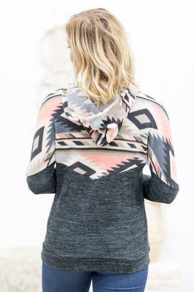 DEALS: Love Somebody Aztec Print Hooded Long Sleeve Top in Charcoal - Filly Flair