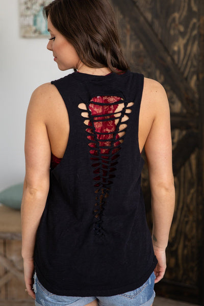 Get To It Ladder Cutout Back Tank Top in Black - Filly Flair