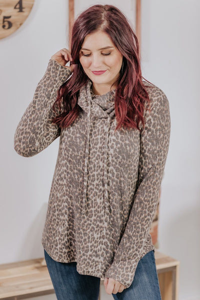 Stronger Than Life Cowl Neck Long Sleeve Top in Leopard - Filly Flair