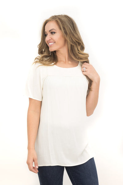What's Goin' On Short Sleeve Top in Cream - Filly Flair