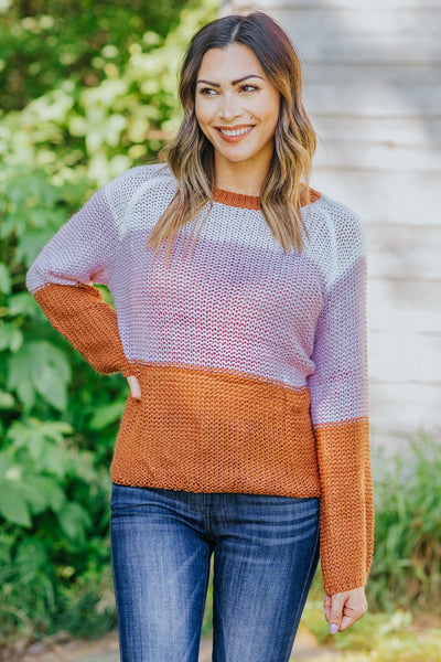 Can't Be Wrong Colorblock Knit Sweater in Brown - Filly Flair