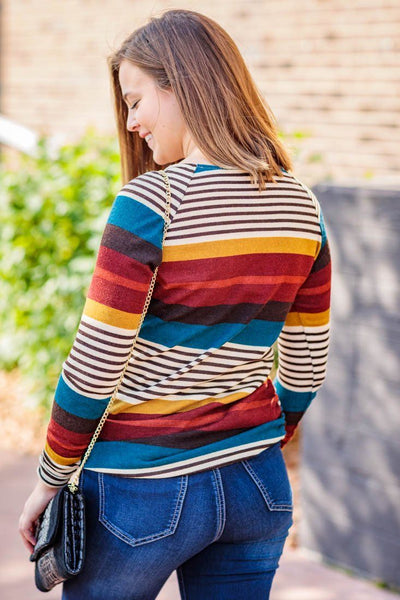 Times Are Changing Multi Striped Long Sleeve Side Ruching Top in Rust Mustard - Filly Flair