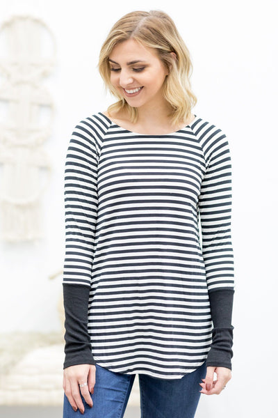 Blinded By Your Light Long Sleeve Striped Top In Black - Filly Flair