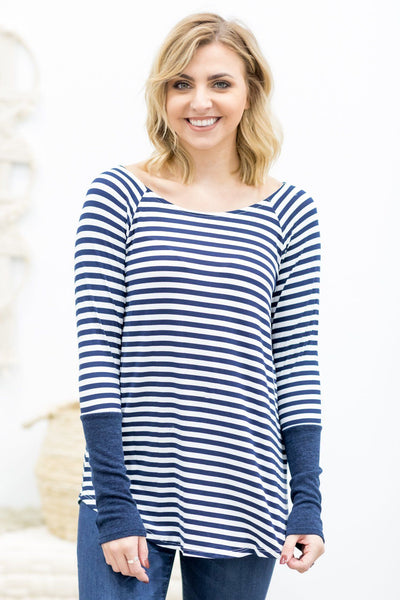 Blinded By Your Light Long Sleeve Striped Top In Navy - Filly Flair