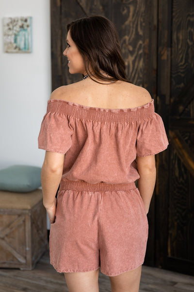 #ST3# Caught Up Off The Shoulder Jean Romper in Mauve - Filly Flair