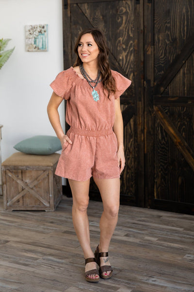 Caught Up Off The Shoulder Jean Romper in Mauve - Filly Flair