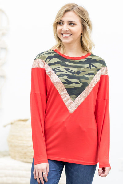 Let's Try This Again Chevron Detail Long Sleeve Top in Red - Filly Flair