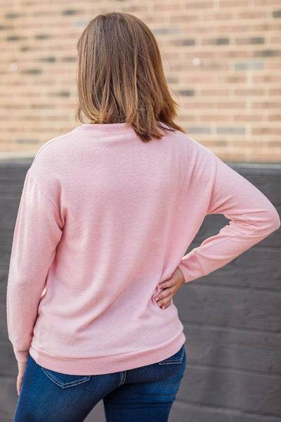 The Voice Of Truth Aztec Print Long Sleeve Super Soft Top in Rose Pink - Filly Flair
