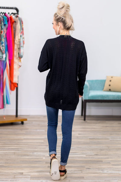 Where The World Stops Spinning Long Sleeve Pointelle Cardigan in Black - Filly Flair