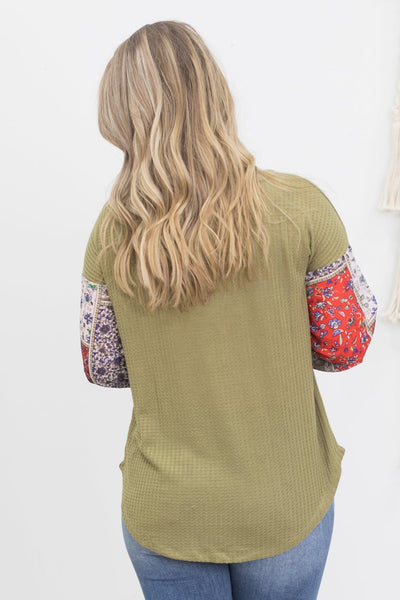 Assume It Will Be Great Long Sleeve Olive Green Top With Floral Sleeves - Filly Flair