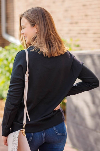 Casual Afternoon Long Sleeve Sweatshirt in Black - Filly Flair