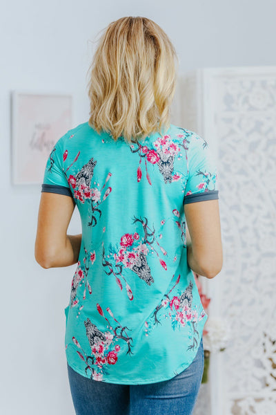 Something More Short Sleeve Floral Top in Mint - Filly Flair