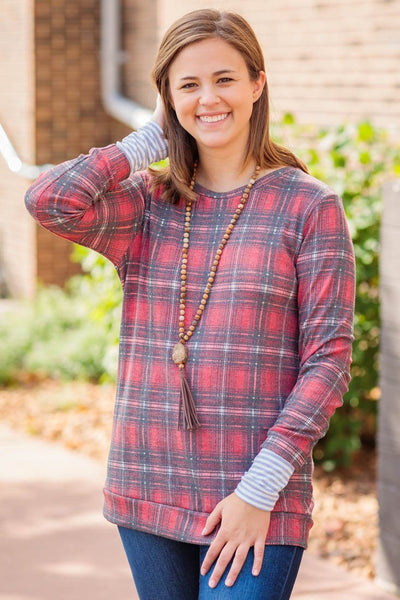 Leaning To Love Plaid Long Sleeve Top in Red - Filly Flair