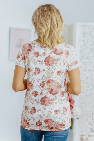 Snacks and Sodas Floral Knit Top in Ivory - Filly Flair