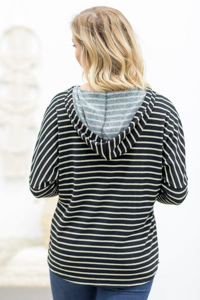 One In The Same Striped Hoodie Top in Black - Filly Flair