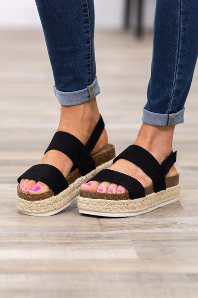 I Can Move Mountains Platform Sandals in Black - Filly Flair