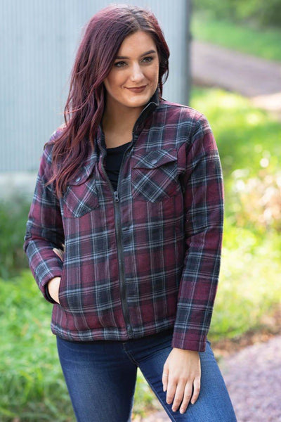 Cabin Fever Plaid Flannel Zip Up Jacket in Burgundy - Filly Flair