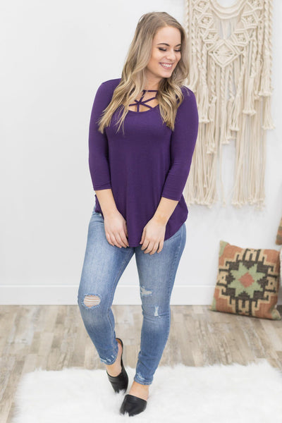 Happiness Comes Easy 3/4 Sleeve Criss Cross Front Top in Eggplant - Filly Flair