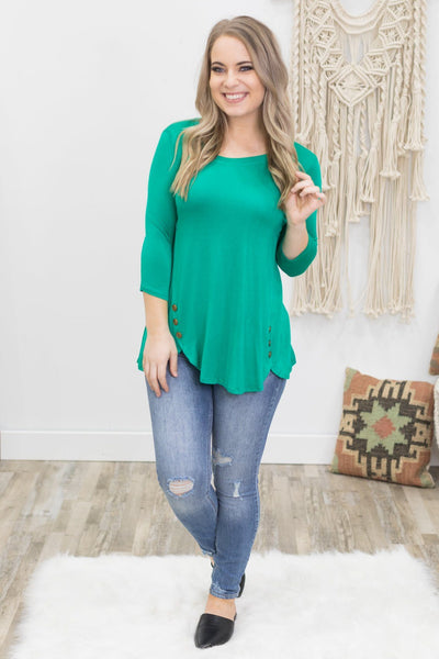 The Way You Smile 3/4 Sleeve Top in Emerald - Filly Flair