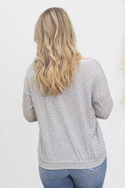 Making It Easy Animal Print Top in Grey - Filly Flair