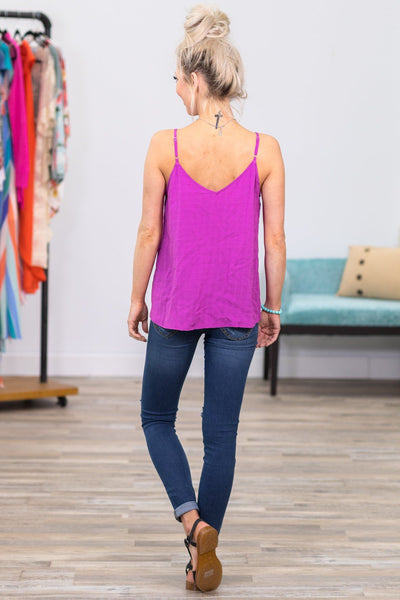 I Want To Love You Button Down Tank Top In Fuchsia - Filly Flair