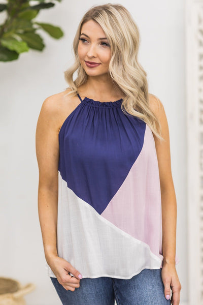Sweeter With Time Tank in Pink and Navy - Filly Flair