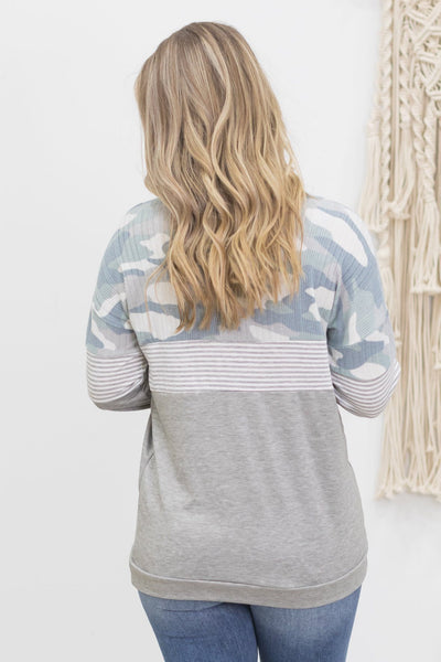 Release Me Long Sleeve Top In Light Blue Camouflage And Stripes - Filly Flair
